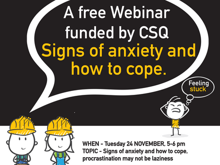 Webinar - Signs of Anxiety and how to Cope.