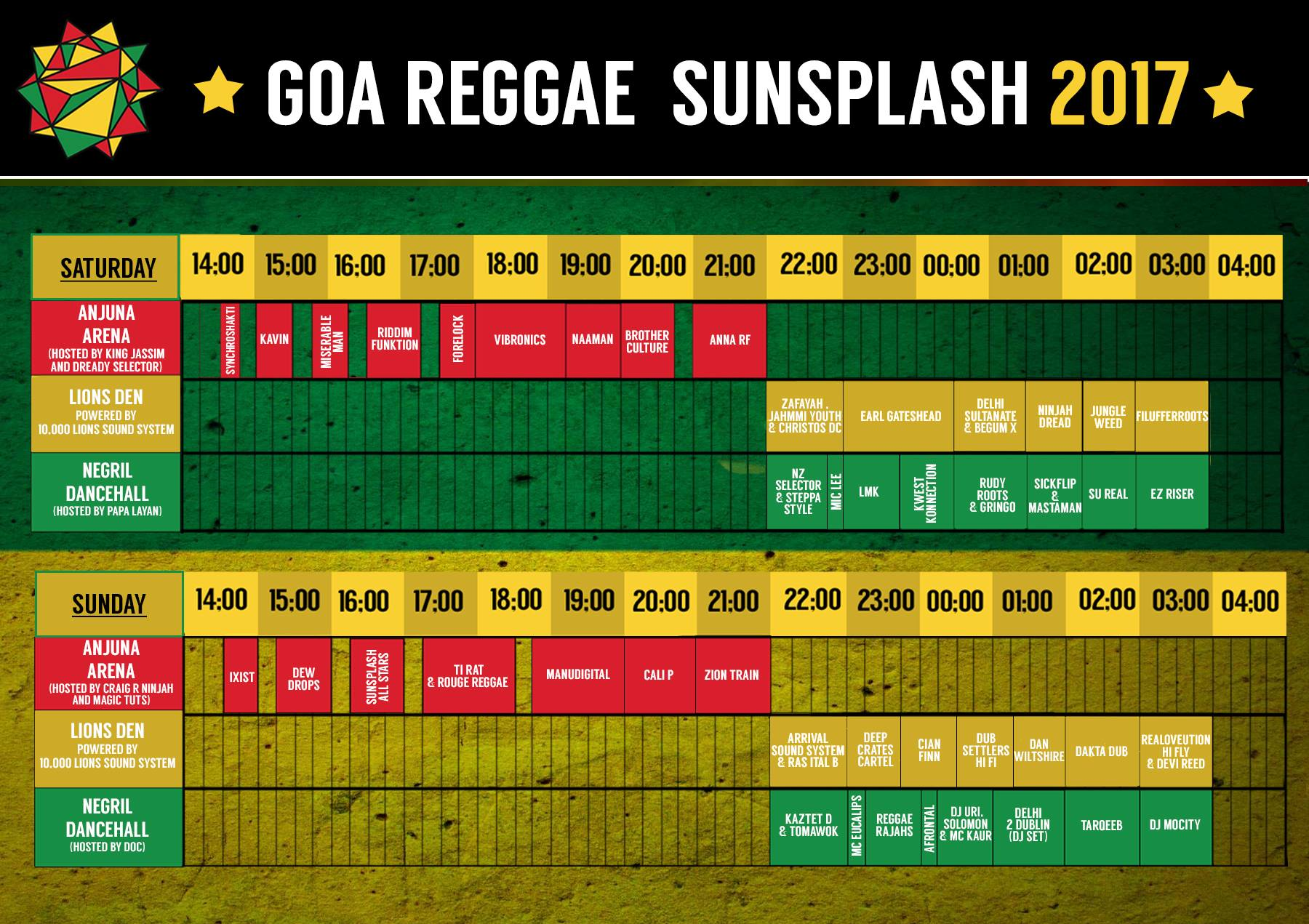 The final schedule for the Sunsplash Festival is here. Make sure you're at the right stage at the right time to catch your favorite artists and bands!