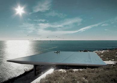 Uma ampla piscina de borda infinita forma a cobertura desta casa, que será construída na ilha grega