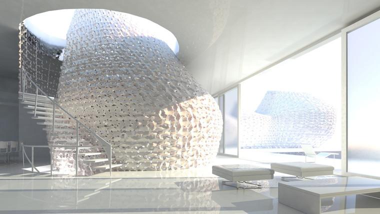 Escritório propõe casa feita com impressão 3D, concreto e sal