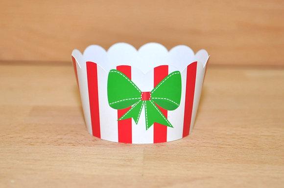 Q016: 6 Cupcakes Wrap laço verde
