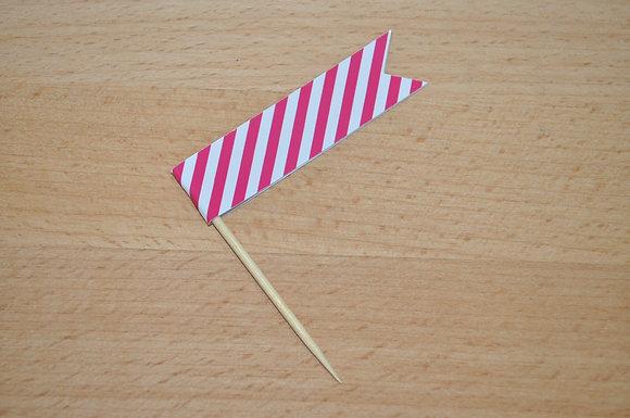 B043: 6 Bandeirinha Primavera - Risca Rosa