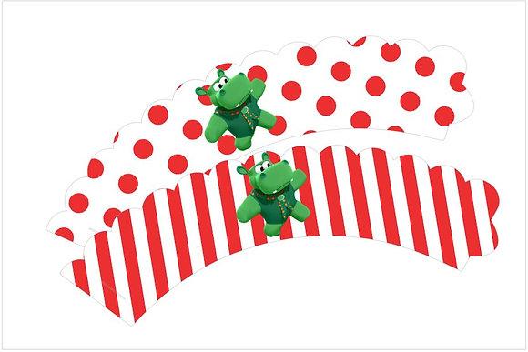 Q037: 6 Cupcakes wrap baby tv vermelho