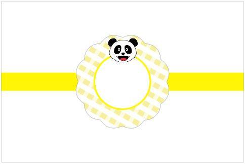 SU021: 3un Rótulos Garrafa 1,5lt  - Panda Amarelo