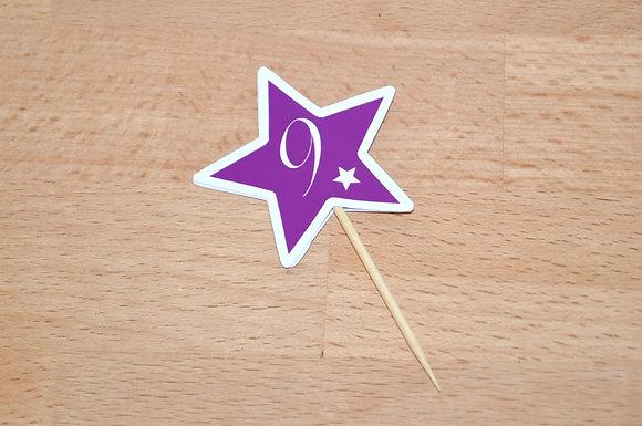 T015: 6 Topperes estrela roxa