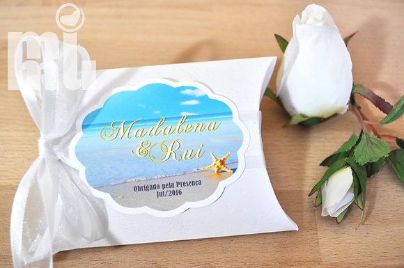 M027 - 10 Caixa Almofada Branca - Personalizada