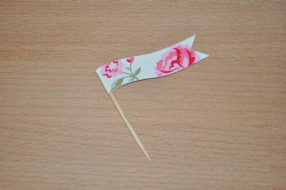 B049: 6 Bandeirinhas Rose - flores