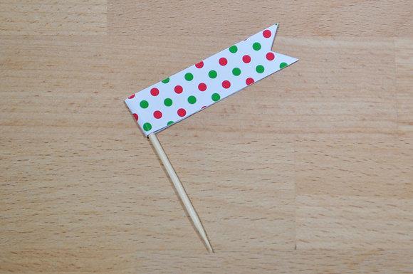 B023: 6 Bandeirinhas - Pintas verde e vermelho