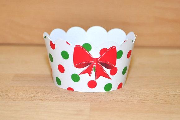 Q015: 6 Cupcakes Wrap laço vermelho