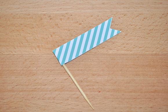B043 - 6 Bandeirinha Primavera Risca Azul
