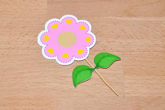 T009 - 6 Topper Flor Rosa