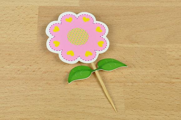 Topper Flor c/ folhas (pach 6unid)
