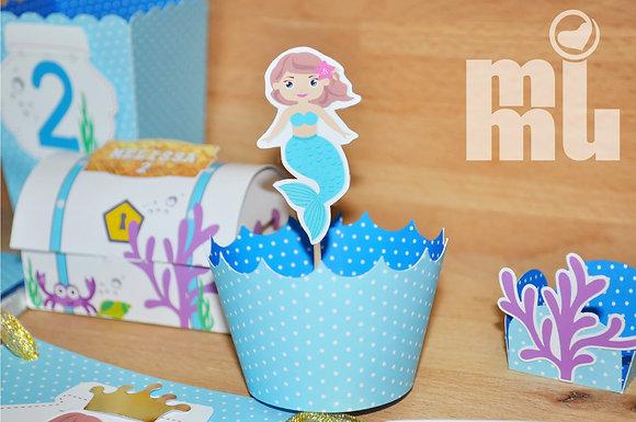 Q038: 6 Cupcakes wrap peq Sereia