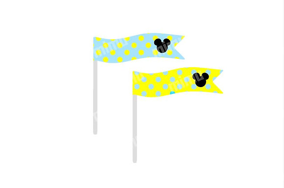 B053: 6 Bandeirinhas Mickey Amarelo