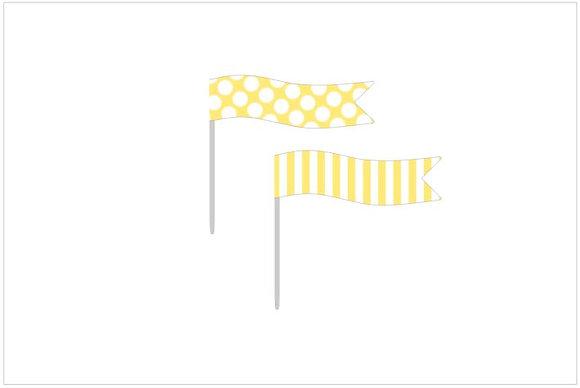 B074: 6 Bandeirinhas Baby TV amarelo