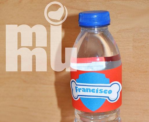 SU010: 1un Rótulo garrafa - PAW Vermelho