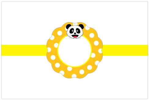 SU006: 3un Rótulos Garrafa 1,5lt  - Panda Laranja