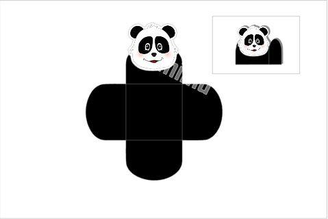 D042: 1un Forminha p/ doces Panda B&W