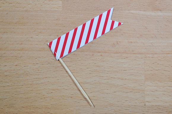 B021: 6 Bandeirinhas - Risca fina vermelha
