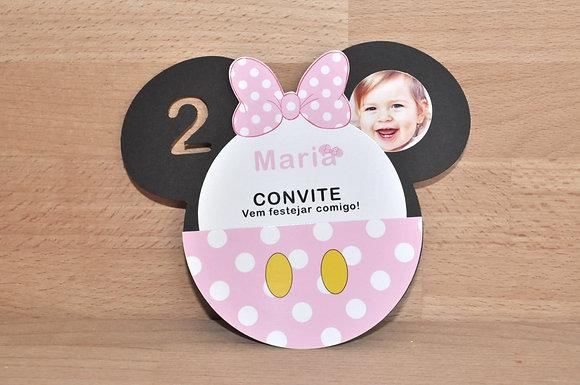 I012: 1 Convite Minnie Cabeça