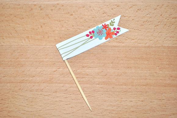 B030 - 6 Bandeirinhas Primavera - flores