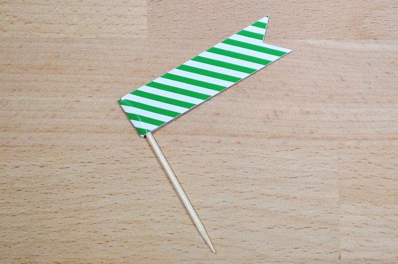 B022: 6 Bandeirinhas - Risca fina Verde