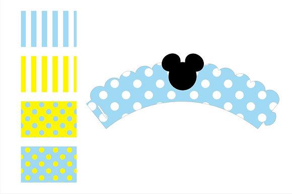 Q027: 6 Cupcakes Wrap Mickey