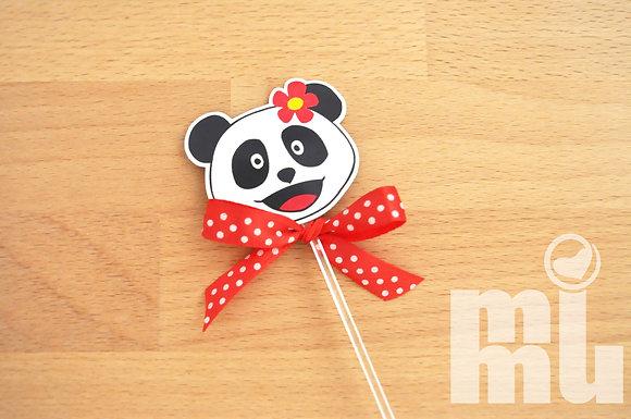 T006 - 6 Topper Panda Menina RED c/ laço