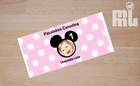 C026: 1 Chocolate PERSONALIZADO Minnie pi