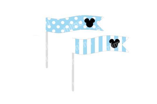 B051: 6 Bandeirinhas Mickey - Azul