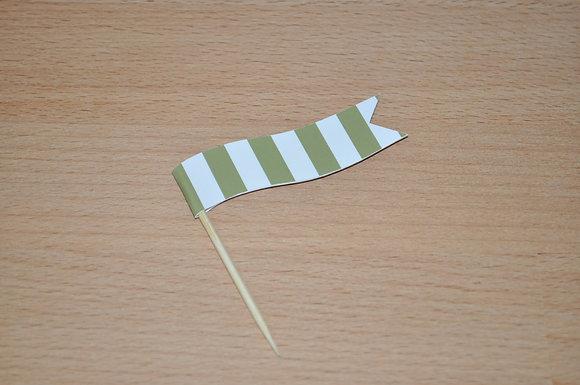 B050: 6 Bandeirinhas Rose - Risca verde