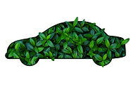 silhouette of car out of green leaves on