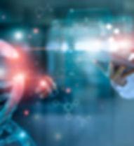 Abstract luminous DNA molecule. Doctor u