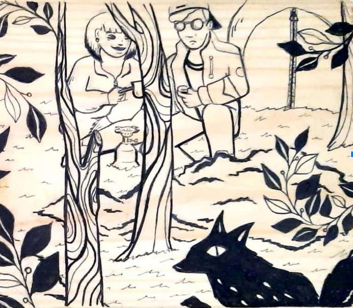 דור אן-אלי, טיול, דיו על משטח עץ, 32.2X1