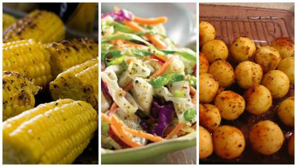O corn on the cob (milho na brasa), o cole slaw (salada de repolho com vinhagrete) e as baked potatoes (batatas assadas) são os acompanhamentos mais tradicionais.