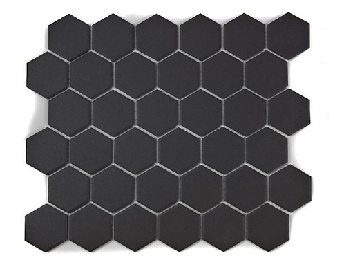 Full Body Hexagon Matt Black Mosaic (5.1cm x 5.1cm) 32.5cm x 28.1cm Wall & Floor