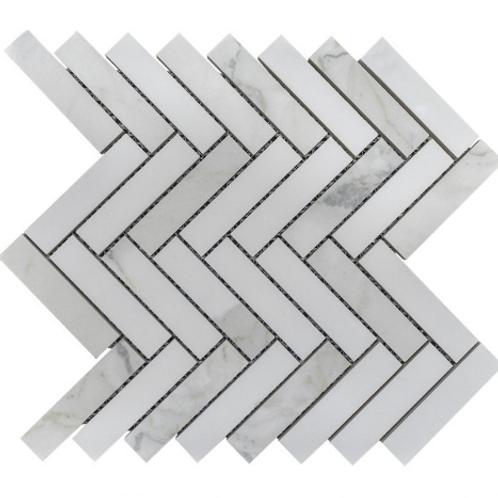 Q Marmi Statuario Herringbone 28cm x 29.2cm Wall & Floor Mosaic