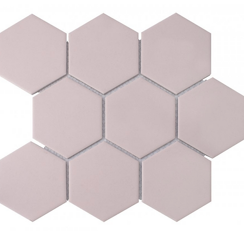 Hexagon Matt Pink Mosaic (9.5cm x 9.5cm) 29.5cm x 25.6cm Wall & Floor Tile