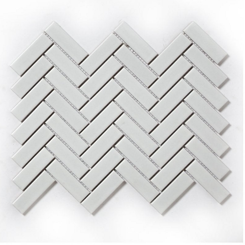 Herringbone White Matt 31.8cm x 24.7cm Wall & Floor Mosaic