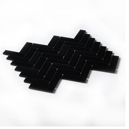 Herringbone Black Matt 31.8cm x 24.7cm Wall & Floor Mosaic