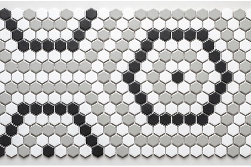 Geometric Hexagon Mix (2.3cm x 2.3cm) 30.3cm x 52.5cm Mosaic Tile