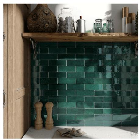 Artisan Moss Green 6.5cm x 20cm Wall Tile