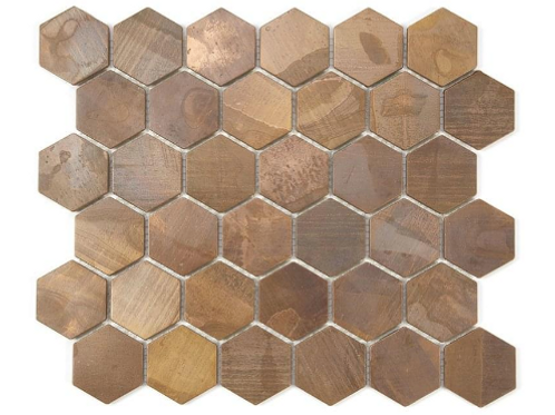 Hexagon Oxidised Copper (5.1cm x 5.9cm) 29.5cm x 30.5cm Mosaic Tile