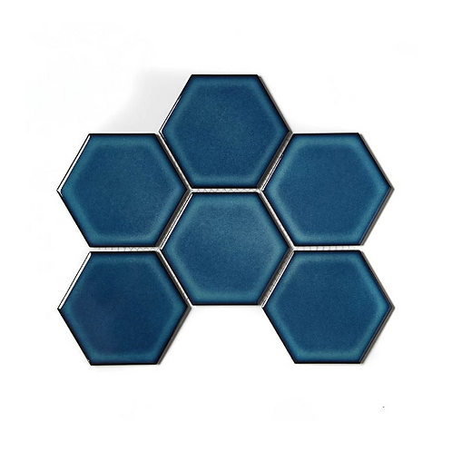 Hexagon Gloss Blue (9.5cm x 9.5cm) 25.6cm x 19.7cm Wall Mosaic