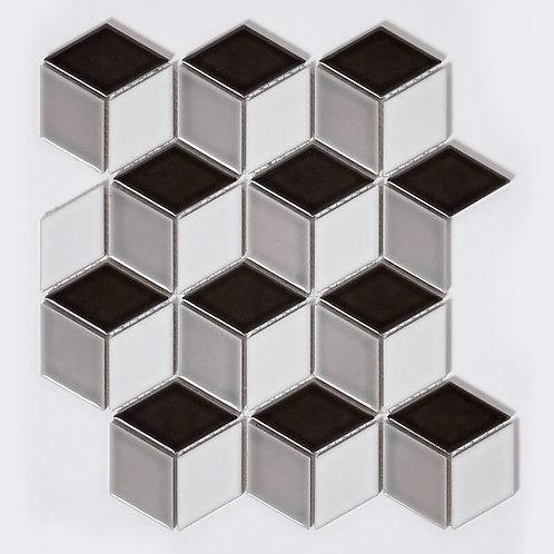 Rhombus Gloss Black Mix Mosaic 305mm x 265mm x 6mm