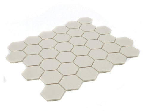 Full Body Hexagon Matt Cream Mosaic (5.1cm x 5.1cm) 32.5cm x 28.1cm Wall & Floor