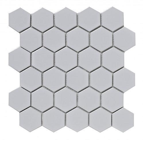 White Hexagon Gloss Porcelain Mosaic