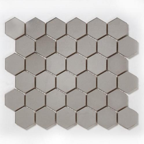 Hexagon Silver (5.1cm x 5.1cm) 29.5cm x 30.5cm Mosaic Tile