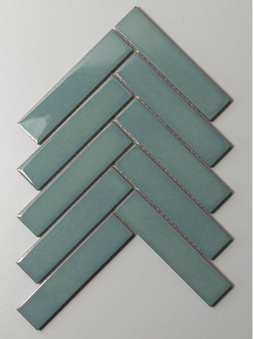 Herringbone Teal Gloss 20.9cmx 24.7cm (3.2cmx 14.5cm) Wall Mosaic