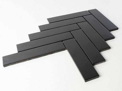 Herringbone Black Matt 20.9cmx 24.7cm (3.2cmx 14.5cm) Wall Mosaic